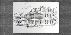 Commissioned pen & ink of old convent, St. Martinville, LA