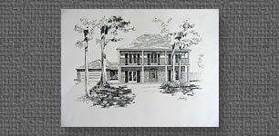 Commissioned pen & ink of residence