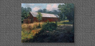 Oil of a red barn on an August afternoon