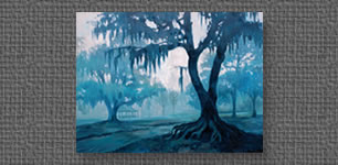 Oil painting of foggy morning in Girard Park, Lafayette, LA