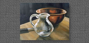 Still life with copper bowl in oils