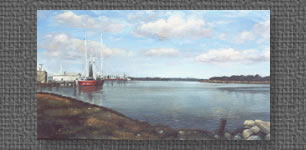 Panoramic oil of fishing fleet docked on the Intracoastal Canal