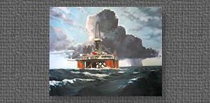 Oil painting of a drilling rig and rainstorm on the Gulf of Mexico