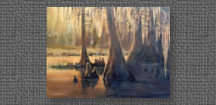 Oil painting of backlit cypress trees