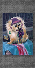 Painting of Miss Daisy a dog in the French Quarter, New Orleans, LA