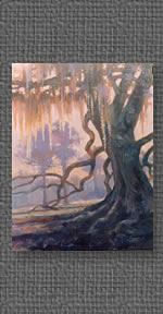 Oil painting of old oak tree with Spanish moss