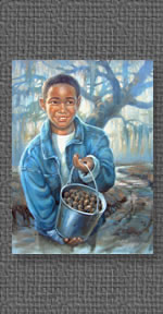Oil of boy with bucket full of pecans