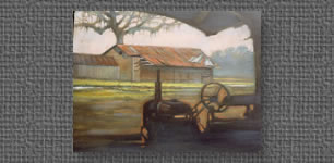 Oil on canvas of old tractor