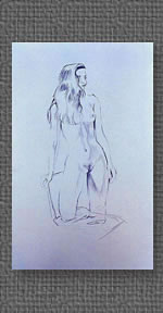 Standing nude, graphite on colored watercolor paper