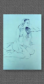 Seated nude, graphite on colored watercolor paper