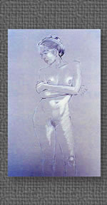 Conte crayon on grey charcoal paper of standing nude