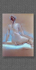 Pastel on brown charcoal paper of seated nude