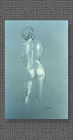 Standing nude in conte on grey charcoal paper
