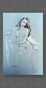Standing nude, conte on grey charcoal paper