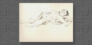 Reclining nude, graphite on colored watercolor paper