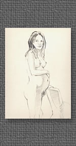 Standing nude, graphite on watercolor paper