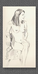 Seated nude, graphite on watercolor paper